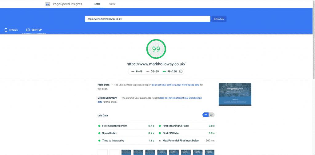 Google Speed tester